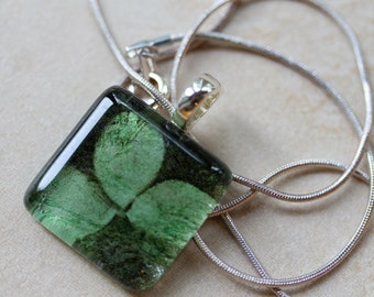 New one of a kind glass tile shamrock lucky clovers handmade paper 1 inch necklace with chain Go Green