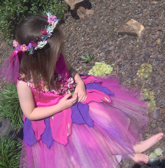 Boutique Flower Fairy - Girls Fairy Dress with tulle skirt - Custom made for Christmas