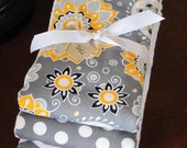 PREMIUM 6 ply burp cloth diapers gray and yellow floral, polk a dots, zig zag