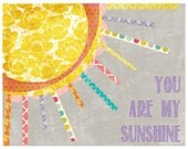 Print, You are My Sunshine, Art Girl Nursery Toddler, Purple and Grey colors.