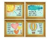 You are my Sunshine Wall Art, Nursery Art, Wall Art Children, Kids Room Nursery Décor, Baby Girl Nursery, Nursery Room Art, Aqua Nursery Art