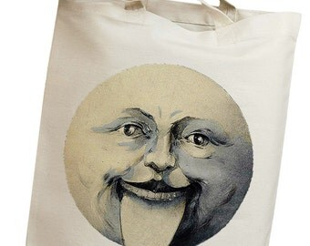 Moon Vintage Eco Friendly Canvas Tote Bag (isa005)