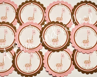 Pink and Brown Giraffe Personalized Birthday or Shower Favor tags
