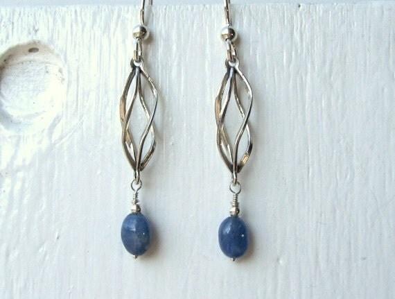 Blue Sapphire Earrings : Sapphire Jewelry, September Birthstone Earrings, Chandelier Earrings, Spiral Dangle Earrings, Cyber Monday Etsy