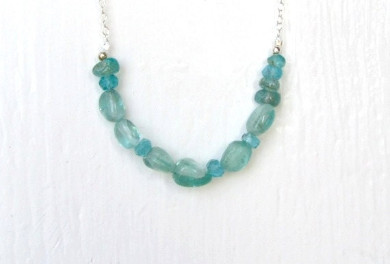 Sparkling Aqua Blue Natural Stone Necklace : Delicate Apatite Nugget Necklace, Apatite Jewelry, Rustic Organic Eco Mineral Jewelry