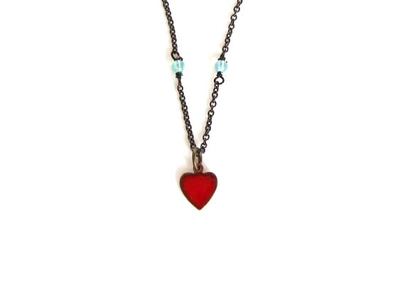 tiny necklace vintage pendant delicate