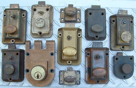 Old Vintage Door Lock Dead Bolt Hardware Lot Of 11 Locks For