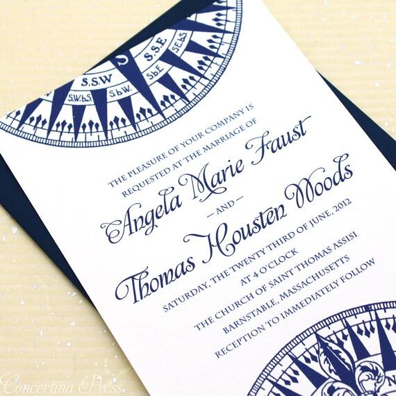 Compass Wedding Invitation, Nautical Wedding Invitation, Ocean Wedding, Beach Wedding Invitation