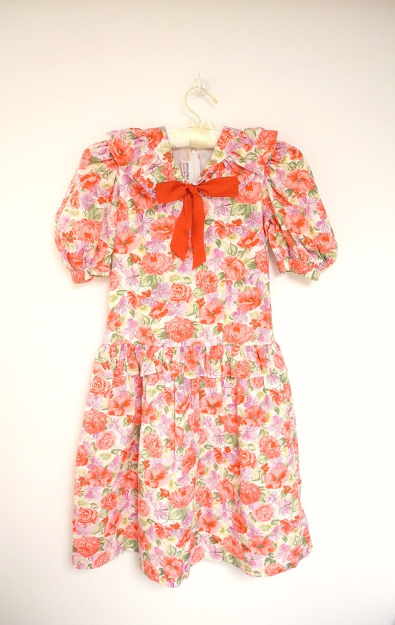 1960's Neiman Marcus Red and Lavender Floral Dress