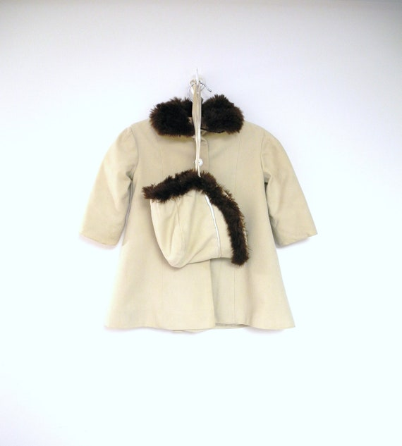 RESERVED - 1950's Handmade Off White Wool Coat and Matching Bonnet with Fur Trim