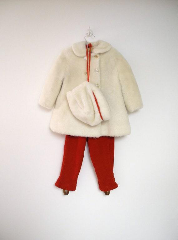 1950's Ivory and Red Double Breasted Faux Fur and Velvet Coat, Pants and Bonnet Set