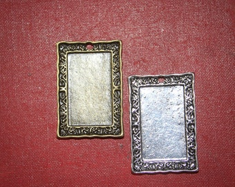 6 HALF OFF Rectangle Vintage style Pendants (22mm x 30mm) Blank Bezel settings -silver plated or Antique Bronze for photos or resin art