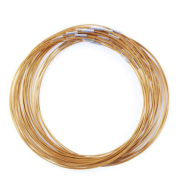 6 - Metalic Copper Steel Necklaces-18 inch- 1mm Screw Clasp Choker- Nice Quality