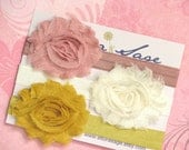 Baby Headbands -  Newborn Headband - Mauve, Ivory, Mustard Yellow Shabby Chic Rosette Headband - Baby Photography Prop Wedding Flower Girl