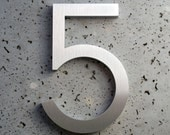 Modern House Numbers Aluminum Modern Font Number Five 5