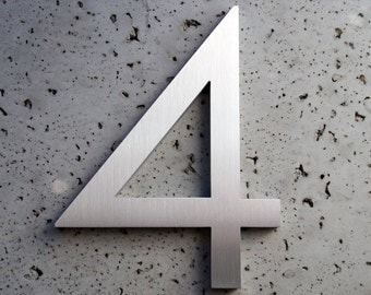 Modern House Numbers Aluminum Modern Font Number Four 4