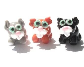 Lampwork glass black / orange/ gray cat bead / sculpture / miniature / figurine