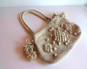 Cyber Monday Sale-Handmade Beige  Knit Bag, Celebrity Style,Crochet summer bag,satchel, fashion