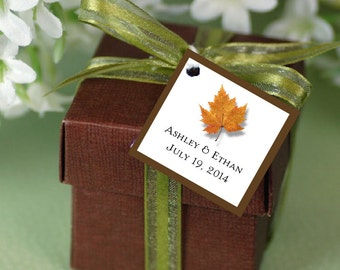 100 Fall Leaf Favor Tags.  Wedding favors