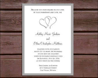 50 Hearts Wedding Invitations, RSVP's, Reception Insert w/ FREE Calendar Stickers