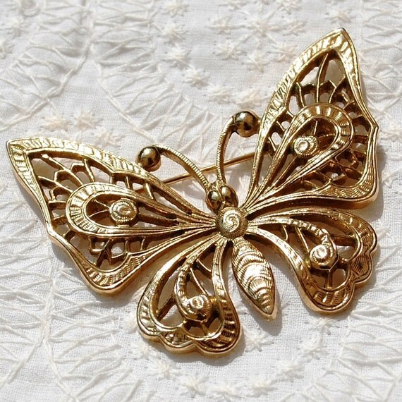 Vintage Figural Brooch, Big Butterfly Pin, Ornate Gold Openwork, 1928 Brand, 1980's Jewelry