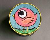 Whimsical Bird Box - Original Art - One of a Kind - Bird - Cartoon - Wiggle Eyes