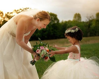 Rustic Wedding Flower Girl Dress, Chic Country Wedding flower girl tutu dress