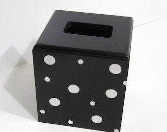 Black Tissue Box with White Dots - Black and White Tissue Box - Bathroom Decor - Bedroom Decor - Tissue Holder - Wooden Tissue Box