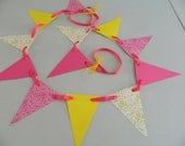 Pink Lemonade Birthday Decorations - You are my sunshine Garland / Girls 1st Birthday Decor  / Pink and yellow damask decor-