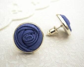 Lavender Flower Stud Earrings - Purple Fabric Rose Bud Silver Earrings - Bridesmaids