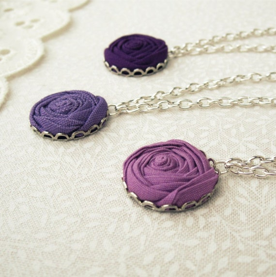 Purple Flower Bridesmaid Necklace in Crocus, Violet & Grape Fabric Roses - Silver Plated Set of 3 Bridal Jewelry