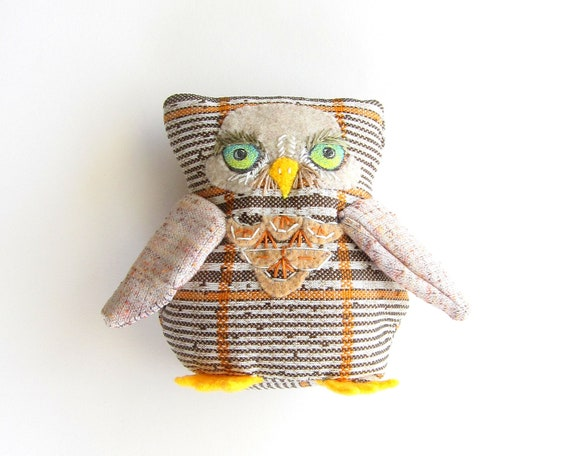 Owl soft sculpture, Obadiah the owl, hand sewn stuffed animal
