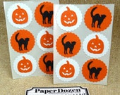 Halloween Stickers-- (Black Cats and Pumkins) Halloween Party / Spooky / Trick or Treat / DIY Cupcake Toppers- 1.5 inch Scallop Circles