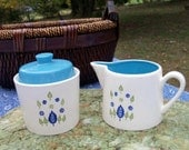 Cream & Sugar Set Mid Century Saving Stamps Dishes Lovely Pattern Cool Crisp Blue Green On White