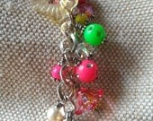 Beaded Purse Charm / Keychain / Wallet Charm / Kindle Charm - Spring/Summer Themed with Swarovski Crystals and Acrylic Beads