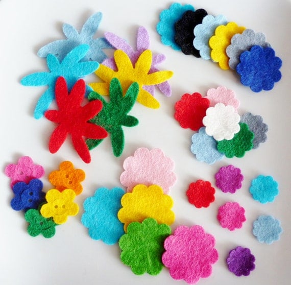 Items similar to die cut wool felt craft flowers set of 50 for Felt arts and crafts