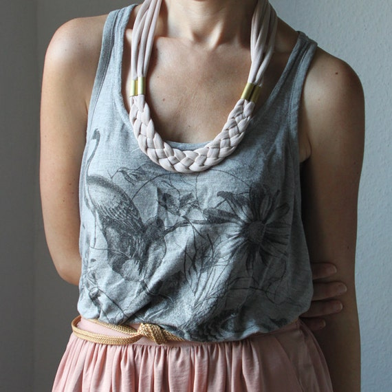 SALE - Last one - Braided necklace in nude mauve jersey fabric