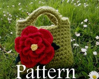 Little Girls Red Flower Purse - PDF crochet pattern