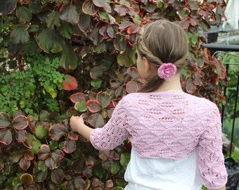 Little Girls Lace Shrug bolero jacket in light pink, 1-10 years