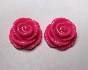 Large Pink Rose Stud Earrings - Retro, Pinup, Gift