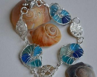 Aqua Blue Genuine Sea Glass Nautilus Hand Wrapped Fine Silver Wire Bracelet with Fine Silver PMC