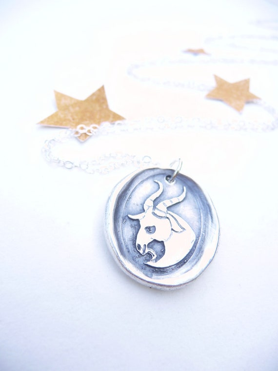 Capricorn January zodiac wax seal necklace pendant zodiac sign made from recycled fine silver