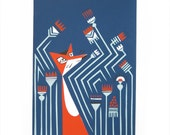 Stalk. Original Hand Pulled Silk Screen Print by Minka Svarcs. Limited edition