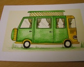 Little green camper ACEO