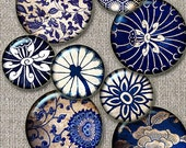 Blue floral  vintage wallpaper fragments, backgrounds  circles 1in -  Digital Collage Sheet, Download for Resin Pendant, Round Circle(J3)