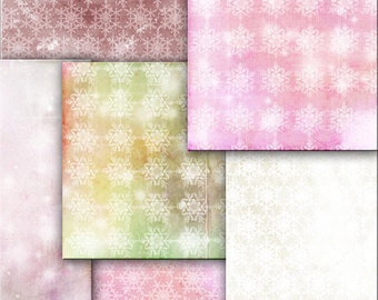 INSTANT DOWNLOAD. Wrapping Christmas Gift paper Shabby Chic  pink   snowflakes  scrapbooking ,  Digital Collage Sheets  to Download Tp11