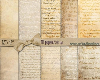 Vintage letters background Papers 12 x 12 inch paper pack scrapbooking crafting hobby digital paper printable digital collage 10 sheets (41)