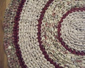 Yellowtag Sale Handmade Crocheted Fabric  Rug  in Yellow, Burgundy and Green -  For Etsy