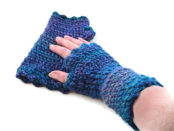 Fingerless Mitts in Blue, Teal, Green & Purple.