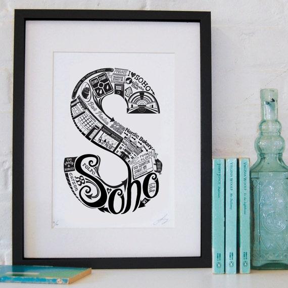 Best of Soho - London print - London poster - London Art - Typographic Print - London illustration - letter art